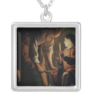 St. Joseph, the Carpenter Square Pendant Necklace