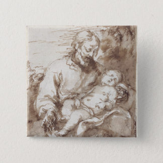 St. Joseph with the Sleeping Christ Child (pen & b 15 Cm Square Badge