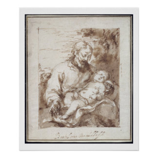 St. Joseph with the Sleeping Christ Child (pen & b Poster