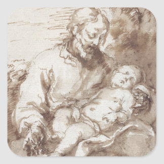 St. Joseph with the Sleeping Christ Child (pen & b Sticker