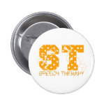 st letters orange and white polka dots pinback buttons