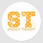 st letters orange and white polka dots stickers