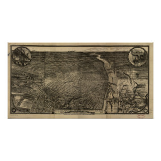 St. Louis Missouri 1876 Antique Panoramic Map Poster