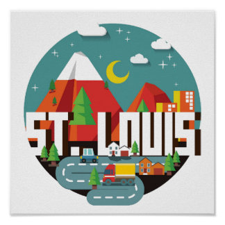 St. Louis, Missouri Geometric Design Poster