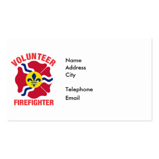 St Louis, MO Flag Volunteer Firefighter Cross Pack Of Standard Business Cards