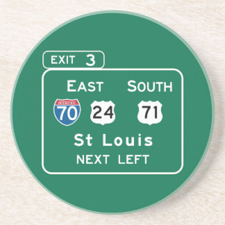 St. Louis, MO Road Sign Beverage Coaster