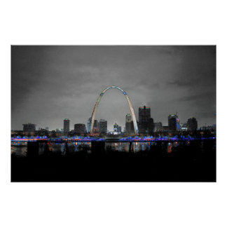 St. Louis Skyline Art B/W w/selective color poster