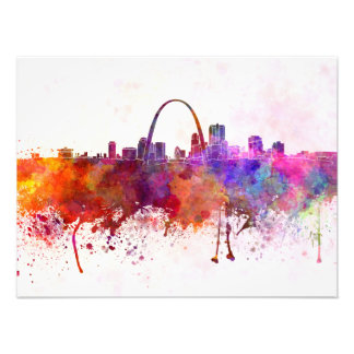 St Louis skyline in watercolor background Photographic Print
