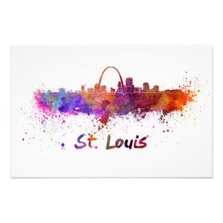 St Louis skyline in watercolor Photo Art