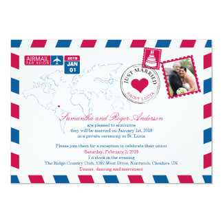 St. Lucia Airmail Post Wedding Reception Card