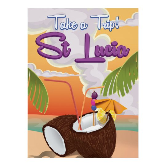 St Lucia Cartoon travel poster. Poster