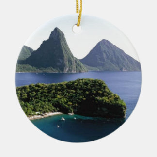st_lucia_pitons_and_caribbean_sea christmas ornament