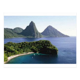 st_lucia_pitons_and_caribbean_sea postcard
