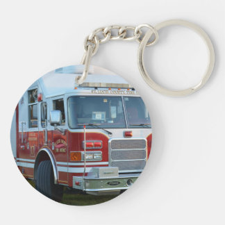 st lucie county firetruck front end fire truck Double-Sided round acrylic key ring