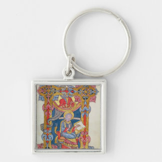 St. Luke Silver-Colored Square Key Ring