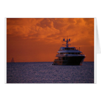 St. Maarten Sunset and Boat Greeting Card