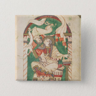 St. Mark, from a gospel from Corbie Abbey 15 Cm Square Badge