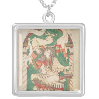 St. Mark, from a gospel from Corbie Abbey Silver Plated Necklace