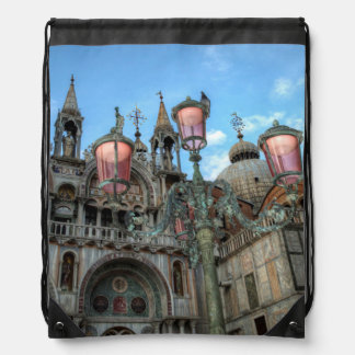 St. Marks and Lamp, Venice, Italy Drawstring Bag