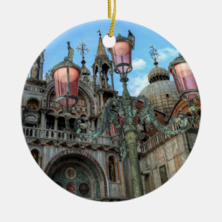 St. Marks and Lamp, Venice, Italy Round Ceramic Decoration