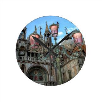 St. Marks and Lamp, Venice, Italy Round Clock