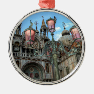 St. Marks and Lamp, Venice, Italy Silver-Colored Round Decoration