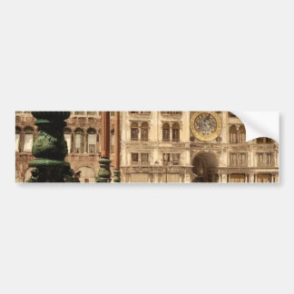 St. Mark's Place and Clock, Venice, Italy classic Bumper Stickers