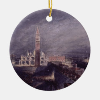 St. Mark's Place, Venice (Moonlight) engraved by G Round Ceramic Decoration