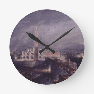 St. Mark's Place, Venice (Moonlight) engraved by G Round Clock