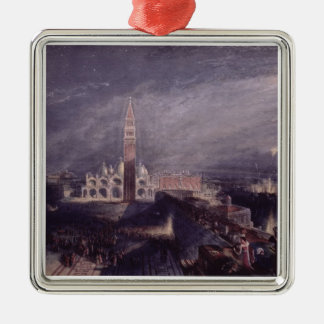 St. Mark's Place, Venice (Moonlight) engraved by G Silver-Colored Square Decoration