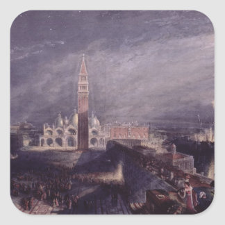 St. Mark's Place, Venice (Moonlight) engraved by G Square Sticker