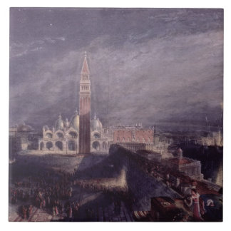 St. Mark's Place, Venice (Moonlight) engraved by G Tile