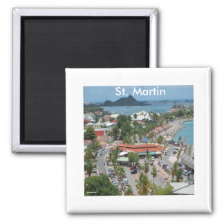 St. Martin and Marigot Bay Photo Square Magnet