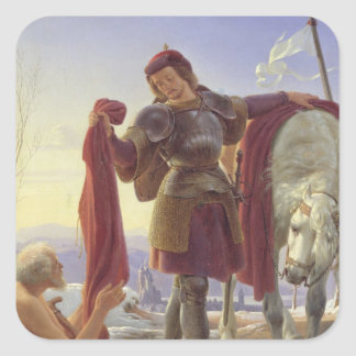 St. Martin and the Beggar, 1836 Square Sticker
