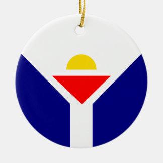 St. Martin Flag Round Ceramic Decoration