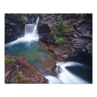 St Mary Falls in Glacier National Park in Art Photo