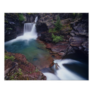 St Mary Falls in Glacier National Park in Poster