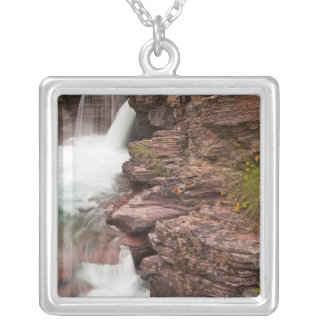 St Mary Falls in Glacier National Park in Silver Plated Necklace