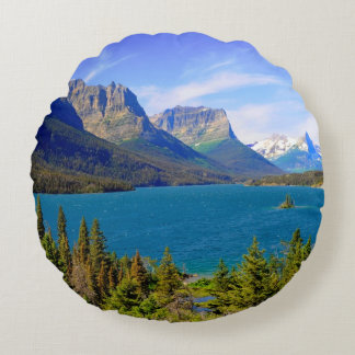 St. Mary Lake,  Glacier National Park,  Montana Round Cushion