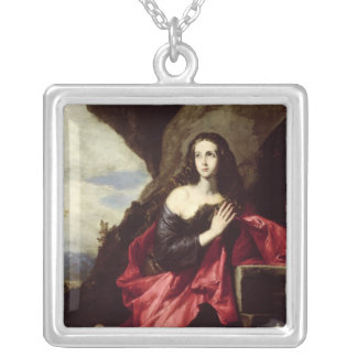 St. Mary Magdalene or St. Thais in the Desert Silver Plated Necklace