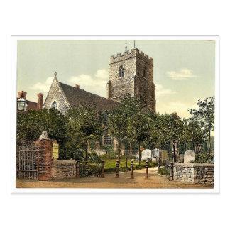 St. Mary's Church, Folkestone, England rare Photoc Postcard