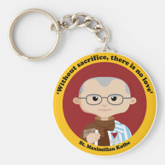 St. Maximilian Kolbe Basic Round Button Key Ring