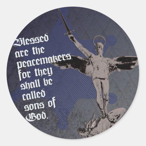 St. Michael Archangel - Sheriff Star Deputy Round Stickers
