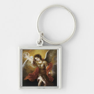 St Michael by Murillo Silver-Colored Square Key Ring