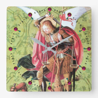 ST. MICHAEL ,DRAGON AND JUSTICE Green Pink Square Wall Clock