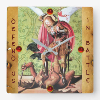 ST. MICHAEL ,DRAGON AND JUSTICE Parchment Square Wall Clock