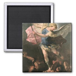 St. Michael, Luca Giordano (Fa Presto) Square Magnet
