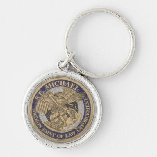 St MICHAEL PATRON SAINT OF LAW ENFORCEMENT Silver-Colored Round Key Ring