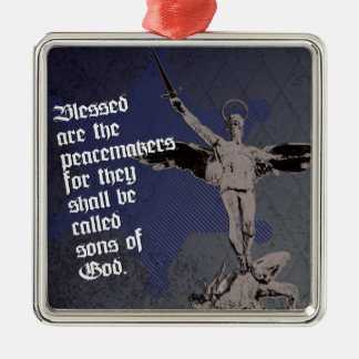 St. Michael - Patron Saint of Police Officers Silver-Colored Square Decoration