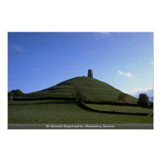 St Michael s Chapel and tor Glastonbury Somerse Print